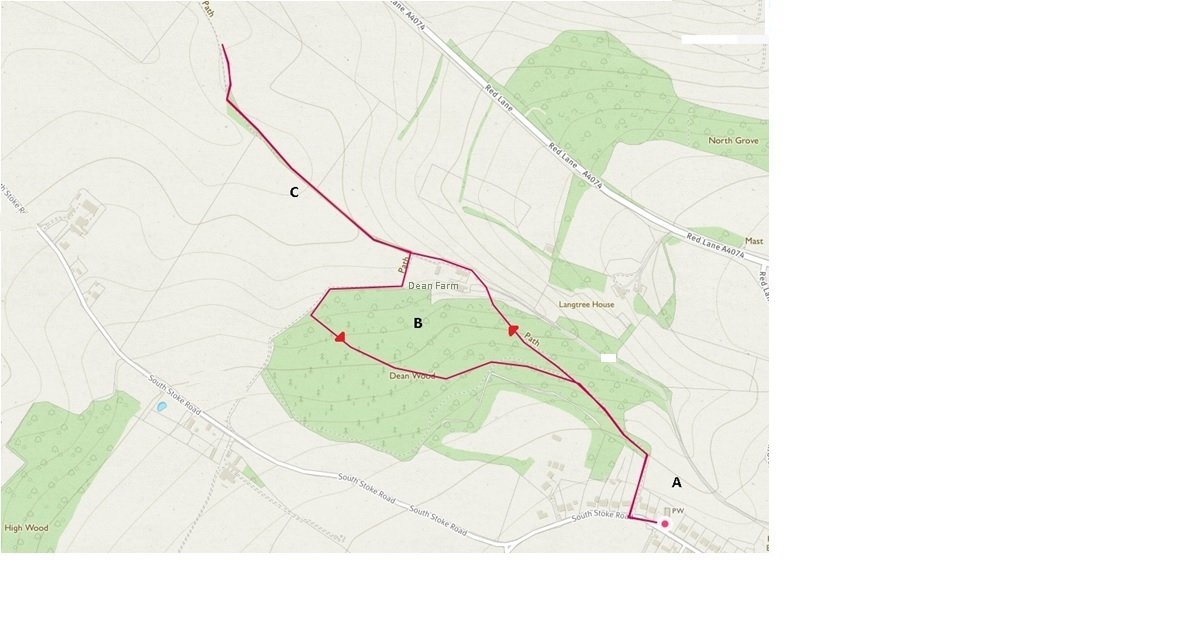 Map showing the route of the WCG Bird Walk